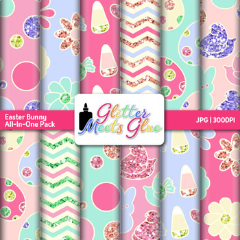 Easter Bunny Paper {Scrapbook Backgrounds for Worksheets & Resources}