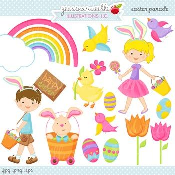Easter Parade Cute Digital Clipart, Easter Kids Clip Art