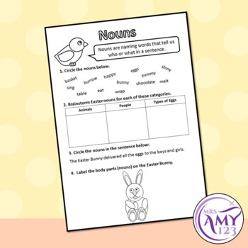 Easter Parts of Speech (Grammar) Worksheets- Nouns, Verbs, Adjectives & more