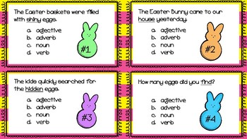 Easter Nouns, Verbs, Adjectives, Adverbs Scoot