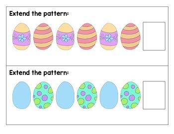 Easter Pattern Center Cards for Kindergarten