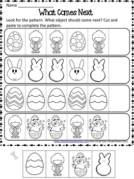 Easter Patterns Worksheets by Sue's Study Room | TpT
