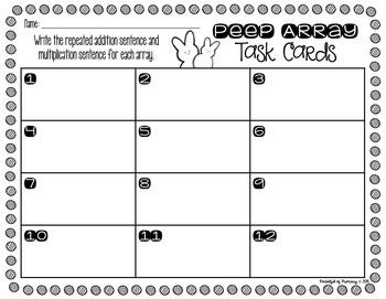 Easter Peep Array TASK CARDS - 2.OA.4