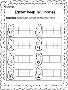 Easter Peep Math Ten Frame Worksheets