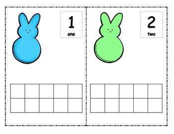 Easter Bunny Peeps Ten Frames for Spring