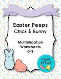 Easter Peeps - Chicks/Bunnies: Math Multiplication Facts Worksheet (0-9)