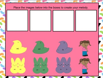 Easter Peeps--Interactive Melodic Composition for Activboards {sol mi la}