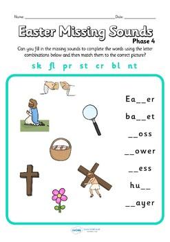 Easter Phase 4 Missing Blends Worksheet