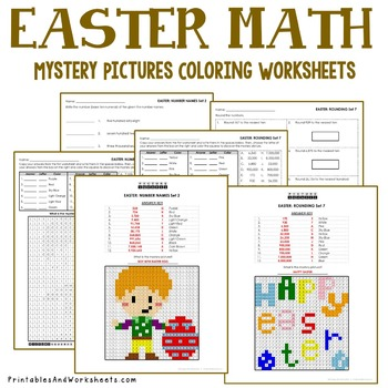 Mystery Pictures (Place Value), Easter Place Value Coloring Worksheets