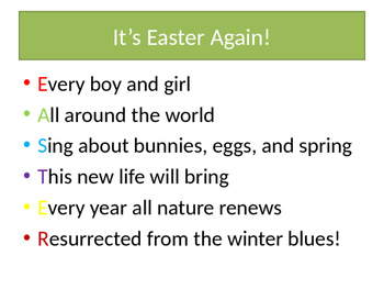 Easter Activity - Writing an Easter Acrostic Poem