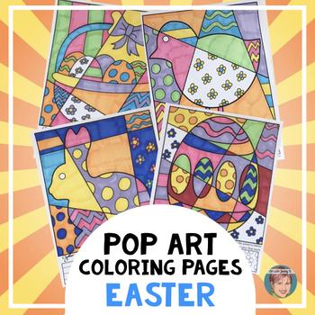 "Easter Activities - ""Pop Art"" Interactive Coloring Sheets"