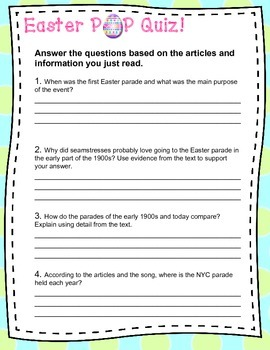 Easter Primary Source Activity: What Were They Thinking?-Reading/Writing/History