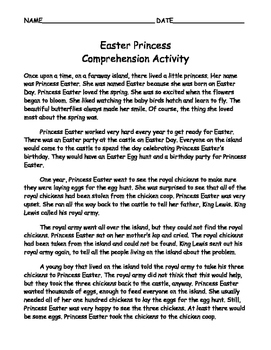 Easter Princess Comprehension activity