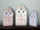 Easter Printable Treat Box - GREY - 3 sizes - DIY Easter Bunny for Student Gifts