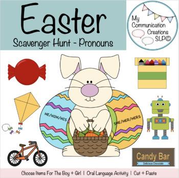 Easter Pronoun Activity Oral Language Cut + Paste SLP