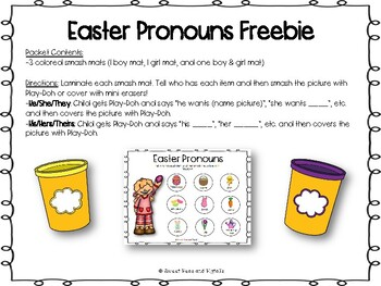 Easter Pronouns Freebie for Speech Therapy