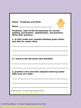 Easter Proofread and Write