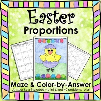 Spring Easter Math Proportions Maze & Color by Number Activity Bundle