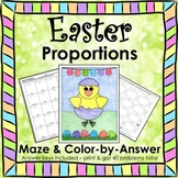 Spring Easter Math Proportions Maze & Color by Number Activity