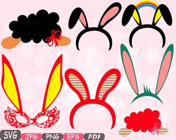 Easter Props Props Photo Booth clipart Party Happy Easter Bunny Mask rabbit -17p
