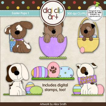 Easter Pups 1-  Digi Clip Art/Digital Stamps - CU Clip Art