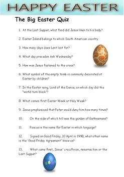 Easter Quiz 2018