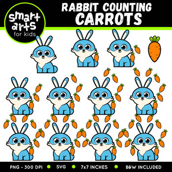 Easter Rabbit Counting Carrots Clip Art