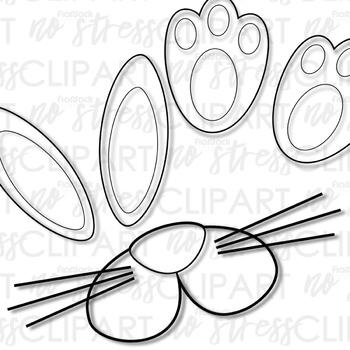 Easter Rabbit Parts Clip Art (Digital Use Ok!)