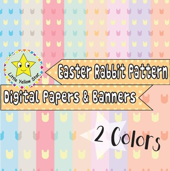 Easter Rabbit Pattern #2 : Digital Papers & Banners *Pastel*