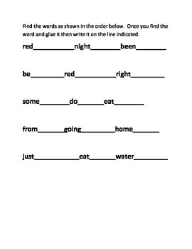 Easter Rabbit Sight Word Puzzle