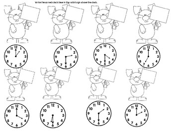 Easter Rabbits Telling Time to the Hour and Half Hour