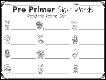 Easter Read the Room:  Pre Primer Dolch Sight Words