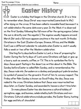 Easter Reading Comprehension Nonfiction Grades 4-5