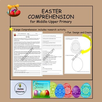 Easter Reading Comprehension for Upper Primary
