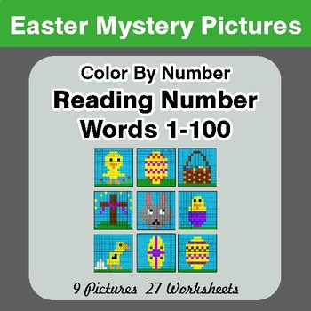 Easter: Reading Number Words 1-100 - Color By Number - Mystery Pictures
