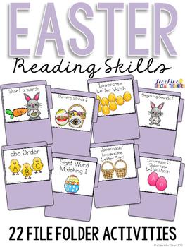 Easter Reading Skills File Folder Tasks (22 Tasks Included)