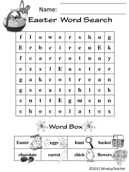 Easter Word Search ~ Rebus~ EASY for Primary Students