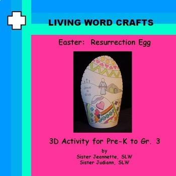 Easter Resurrection Egg 3D Activity for Pre-K to Gr.3