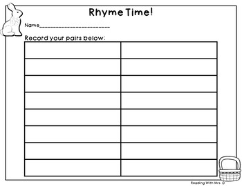 Easter Rhyme Matching Game PLUS recording page