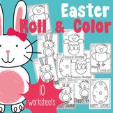 Easter Roll & Color Worksheets - Color by Number + Adding