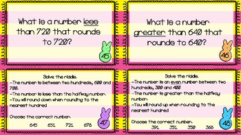 Easter Rounding Tens and Hundreds Task Cards