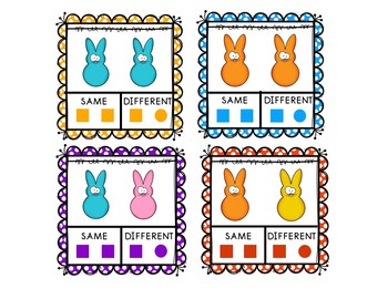 Easter Same and Different Clip Cards