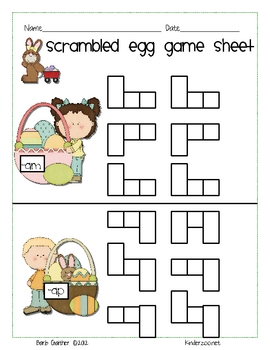 Easter Scrambled Egg Word Families short a
