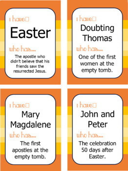 "Easter Season & Acts of the Apostles Game: ""I Have... Who Has..."""