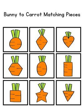 Bunny to Carrot Shape Match File Folder Game for Special Education