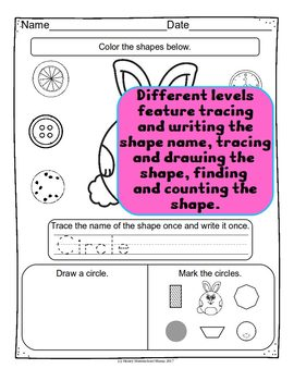 Easter Shape Review with Cute Bunny Shapes - 3 Levels of Work