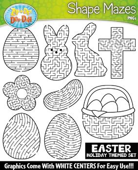 Easter Shaped Mazes Clipart {Zip-A-Dee-Doo-Dah Designs}