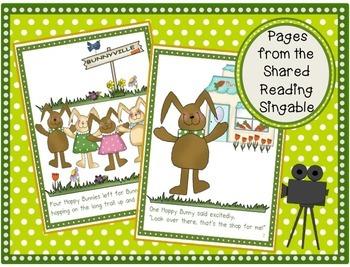 Easter Shared Reading Singable & MORE - Four Hoppy Bunnies