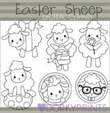 Easter Sheep Black Line Clip Art