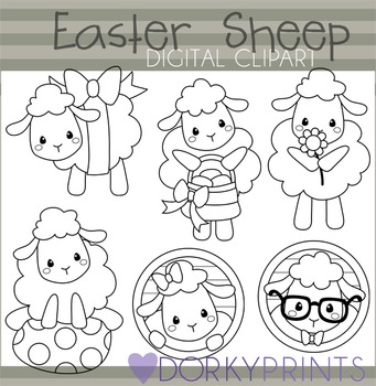 Easter Sheep Black Line Clip Art